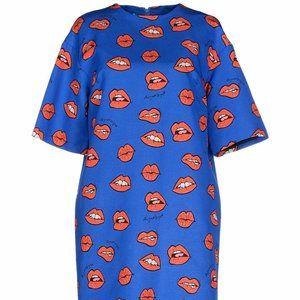 AU JOUR LE JOUR Red Lips Print Blue Mini Dress 4